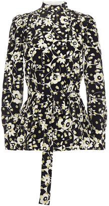 Valentino Belted Floral-print Silk Crepe De Chine Blouse