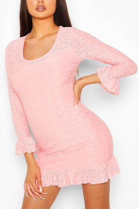 boohoo Broderie Anglaise Scoop Neck Bodycon Dress