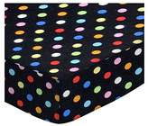 686 SheetWorld Fitted Basket Sheet - Primary Colorful Dots Black Woven - Made In USA - 13 inches x 27 inches (33 cm x cm)