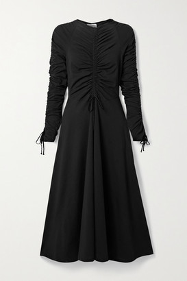Molly Goddard Ruched Velvet-trimmed Cotton-blend Jersey Midi Dress - Black