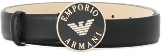 Emporio Armani enameled buckle belt