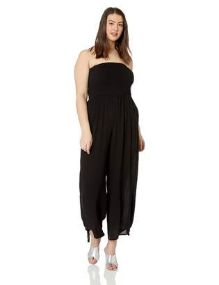 City Chic Women's Apparel Women's Plus Size Strapless Wide Leg Jumpsuit in Black