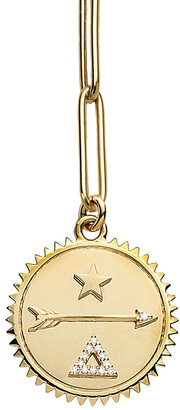 Foundrae Large Dream Medallion On 16 Inch Yellow Gold Extended Clip Necklace