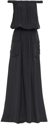 Brunello Cucinelli Off-the-shoulder Gathered Silk Crepe De Chine Maxi Dress