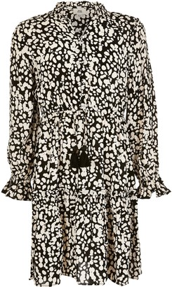 River Island Girls Black printed long sleeve smock dress