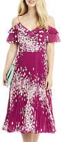 Oasis Kimono Pleated Midi Dress, Multi Pink