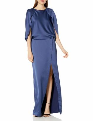 Halston Women's Cape Sleeve Round Neck Satin Gown