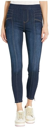 Liverpool Sienna Seamed Moto Pull-On in Silky Soft Denim Jeans in Saxton (Saxton) Women's Jeans