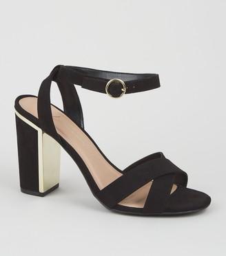 New Look Wide Fit Suedette Cross Strap Metal Block Heels