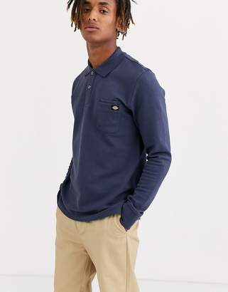 Dickies Canmer long sleeve polo shirt in navy