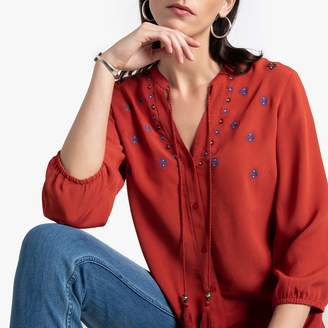 Anne Weyburn Floral Embroidered Peasant Shirt with Grandad Collar and Tassels