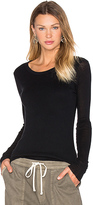 James Perse Cashmere Doubled Long Sleeve Tee in Black