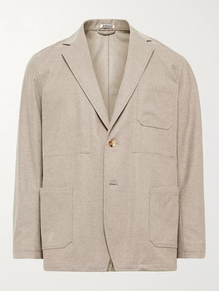 AURALEE Unstructured Melange Wool-Flannel Suit Jacket