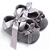TRENDINAO Baby Toddler Girls Pretty Crib Shoes Princess Cotton Soft Prewalker Soft Anti-Slip Shoes (US:2.5(0~6 Month), Gray)