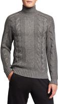 Vince Men's Solid Cable-Knit Turtleneck Sweater