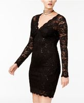 Jump Juniors' Sequined Illusion Lace Dress