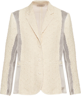 Nina Ricci Single-breasted sheer-panel bouclé-tweed jacket
