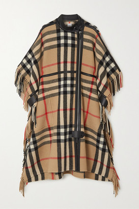 Burberry Leather-trimmed Fringed Checked Wool-blend Cape - Beige