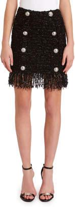 Balmain 8-Button Fringed Tweed Skirt