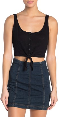 Cotton On Bonnie Button Tie Front Crop Top