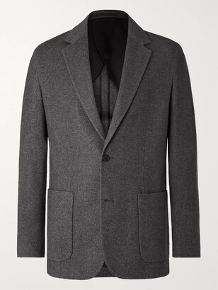 The Row Grey Walter Melange Silk And Cashmere-Blend Blazer