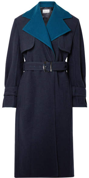 Thierry Mugler Two-tone Wool Trench Coat - Navy