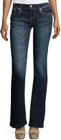 Grace in LA Embroidered Flap-Pocket Boot-Cut Jeans, Dark Blue