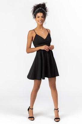 francesca's Velma Ladder Trim Flare Dress - Black