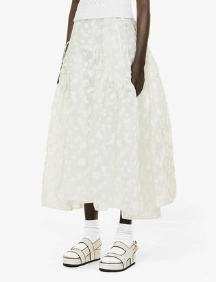 Cecilie Bahnsen Lilly tiered shell midi skirt
