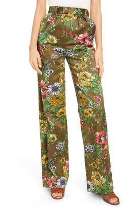 Marc Jacobs Floral Print Pleated Silk & Cotton Pants