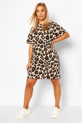 boohoo Plus Leopard Jersey Tshirt Dress