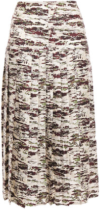 Victoria Beckham Pleated Printed Silk-twill Midi Skirt