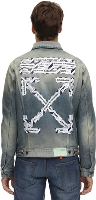 Off-White Airport Tape Print Slim Denim Jacket