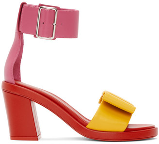 Comme des Garcons Red and Pink Bow Heeled Sandals