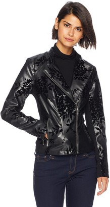 Calvin Klein Women's Embossed Faux Leather Moto Jacket