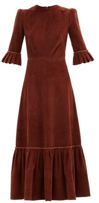 The Vampire's Wife The Festival Jumbo-cord Cotton Midi Dress - Mid Brown