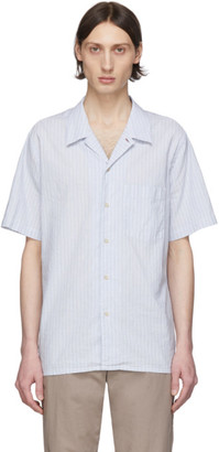 Paul Smith Blue Linen Striped Shirt