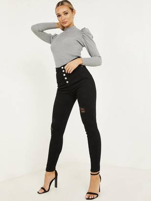 Quiz Denim Stretch High Waist Button Detail Jean - Black