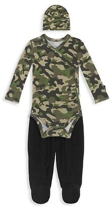 Posh Peanut Baby Boy's 3-Piece Cadet Kimono, Footie Pants Beanie Set