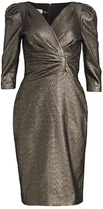 Teri Jon by Rickie Freeman Lame Metallic Puff Sleeve Sheath Dress