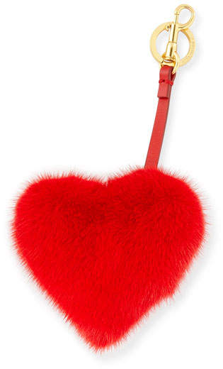 Anya Hindmarch Tassel Heart Bag Charm In Mink Fur, Red