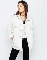 Asos Denim Girlfriend Jacket In Off White