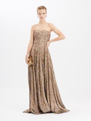 Oscar de la Renta Lame Mousseline Gown