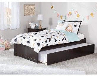 Atlantic Furniture Concord Twin Platform Bed with Flat Panel Foot Board and Twin Size Urban Trundle Bed in Espresso