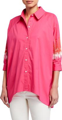 Natori Embroidered Sleeve Cotton Poplin Top