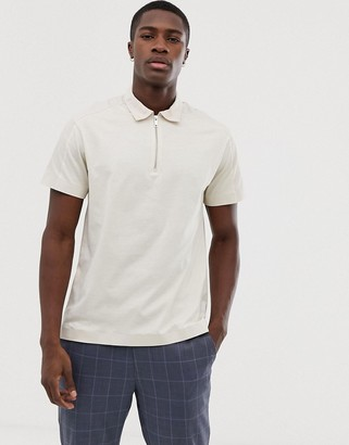 Jack and Jones oversized polo shirt with woven sleeve stripe in beige