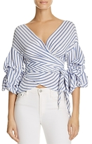 Olivaceous Tiered Wrap Stripe Top