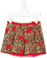 Miss Blumarine leopard print rose detail layered skirt