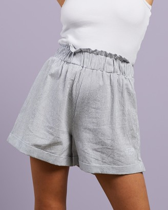 Stussy Women's Blue High-Waisted - Shoreline Linen Beach Shorts - Size 6 at The Iconic