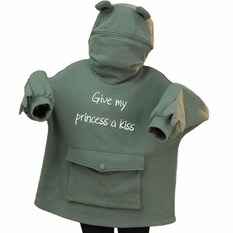 Ycyu Women Cute Novelty Frog Hoodie Animal Shaped Pullover Loose Zip up Hooded Top Sweatshirt with Big Front Pocket (Green L)